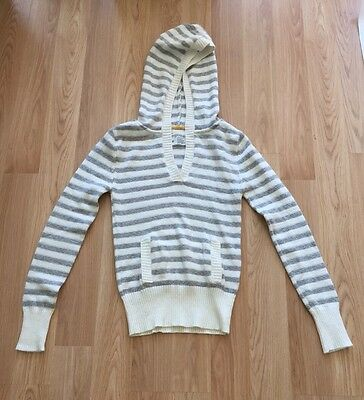 aeropostale sweater hoodie gray & white with silver thread women's size M/M