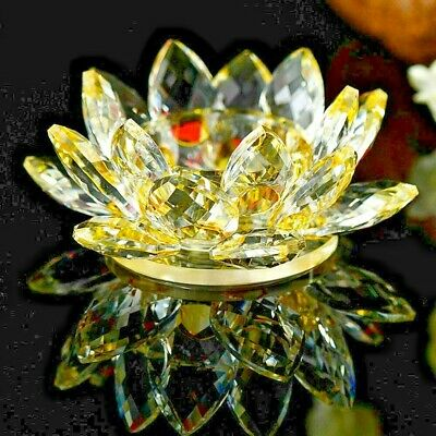 Large Gold/Yellow Crystal Lotus Flower Ornament With Gift Box  Crystocraft Home
