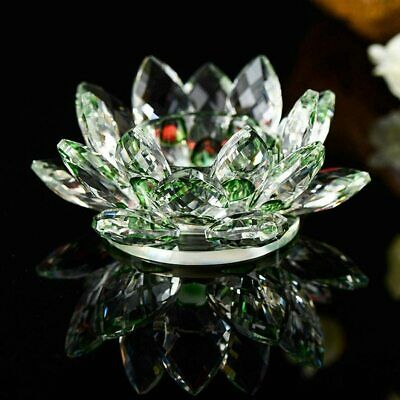 Large Green Crystal Lotus Flower Ornament With Gift Box  Crystocraft Home