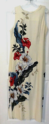 IOLANI Hawaii Dress L -  Cream Off White Floral Red & White Hibiscus