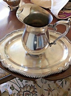 """VTG. Silverplate WM ROGERS Water PITCHER 9"""" footed  w/ Feet silver plated w/tray"""