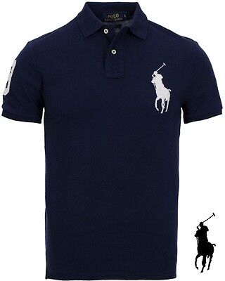 100% Authentic POLO RALPH LAUREN Slim Fit BP Polo shirt Homme Men – NAVY – M ...
