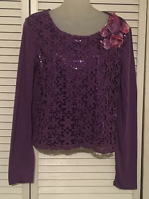 Nwt Girls Justice Purple Lace Sequin Long Sleeve Top Sz 14