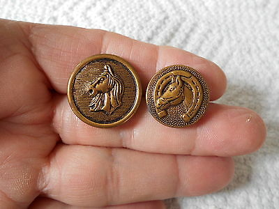 Antique/vintage 2 Metal Picture Buttons With Horses  #64