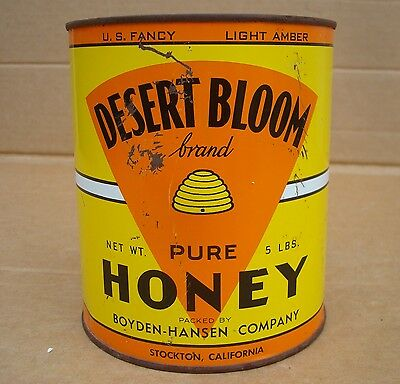 Vintage 5 Lb. Desert Bloom Honey Can Stockton, California