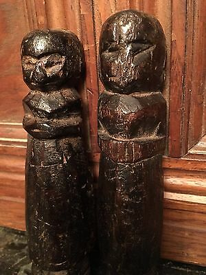 Two Small  17Th Century Oak Carved Pegs