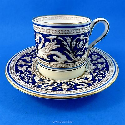 Cobalt Blue Wedgwood Florentine Demitasse Tea Cup and Saucer Set