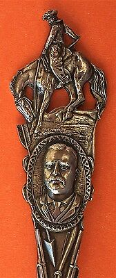 Rare Stunning Cowboy On Horse President Roosevelt Sterling Silver Souvenir Spoon