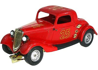 Vintage 1960's Monogram '34 Ford Coupe 1/24 Slot Car w/Brass Chassis & Headlight