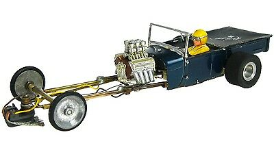 Vintage 1/24 Monogram Ford Blue Beetle Dragster Slot Car w/Brass Tube Chassis