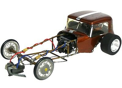 Vintage 1960's 1/32 1/24 Dragster Hot Rod Slot Car w/Brass Tube Chassis Cox 3600