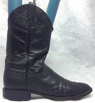 VTG Luskeys Size 10.5 D Black Smooth Ostrich Leather Cowboy Western Boots
