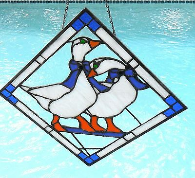 Vintage 1960's Stained Glass Pair Of Geese, Leaded Stained Glass Window