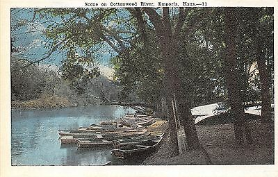 Emporia Kansas~Cottonwood River Scene~Row Boats Tied to Dock~White Canoes~1920s