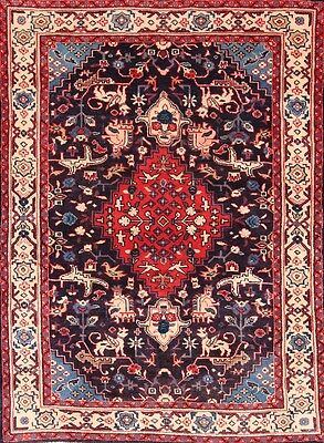 Hand Knotted Animal Pictorial Navy Blue/Red 4x5 Sarouk Persian Oriental Area Rug