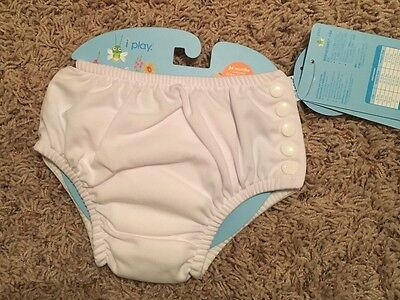 i play. Unisex Snap Reusable Absorbent Swim Diaper, White, 24 Months
