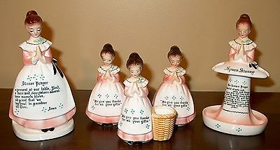 Lot Of 5  Enesco Pink Prayer Lady's In The Kitchen, Excellent Condition
