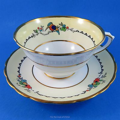 Pretty Yellow Border with Bird Design Tuscan Tea Cup and Saucer Set