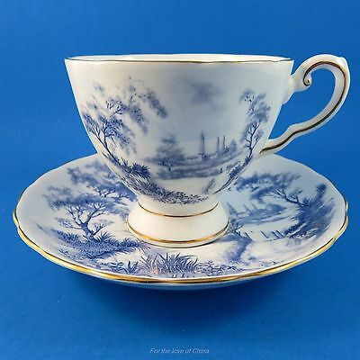 Striking Blue Scenic Tuscan Tea Cup and Saucer Set