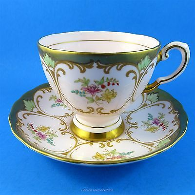 Gold & Pink with Florals Design Tuscan Tea Cup and Saucer Set