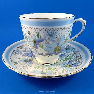 Handpainted Floral Dlue Daisy Bouquet Tuscan Tea Cup and Saucer Set