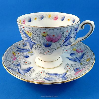 Striking Handpainted Blue Birds and Flowers Tuscan Tea Cup and Saucer Set