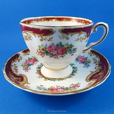 "Pretty Floral & Burgundy ""Naples""  Tuscan Tea Cup and Saucer Set"