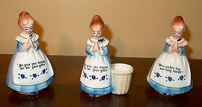 Lot Of 3  Enesco Blue Prayer Lady's In The Kitchen, Excellent Condition
