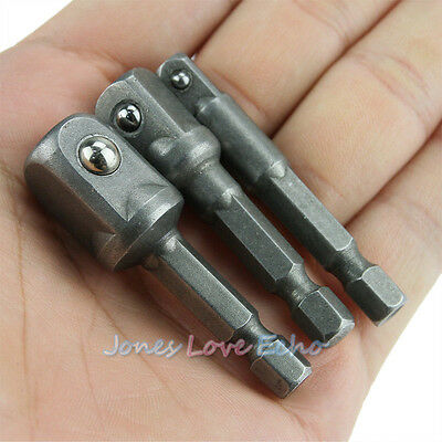 """3 Sizes Socket Adapter Set Hex Shank to Impact Driver Drill BIts 1/4"""" 3/8"""" 1/2"""""""