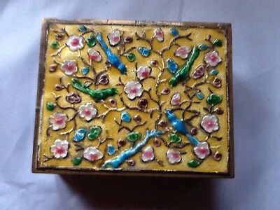 Chinese Cloisonne Enameled  Box With Birds