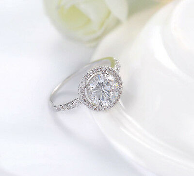 Womens 3.00 CT Halo White Gold Plated Promise Engagement RING ROUND CUT SIZE 5-9