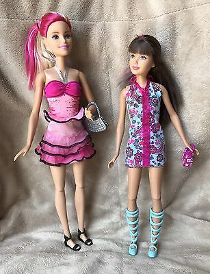 Barbie + Skipper Dolls With Pink In Hair & Outfits Cute Purses Mattel Age 3+