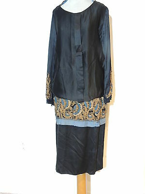 1920's - 1930's Black Silk Crepe Flapper Dress w Embroidery / Metallic Gold MED