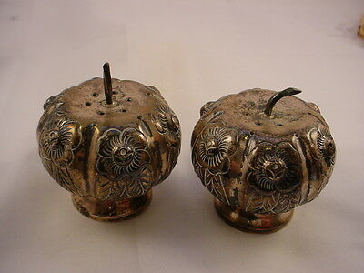 Vintage Sterling Silver Mini Acorn Salt And Pepper Shakers