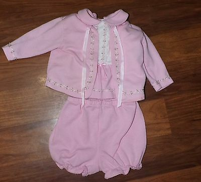 VINTAGE 6 Month ALEXIS Infant Girls Pink 3 Piece Outfit Dress Bloomers Sweater