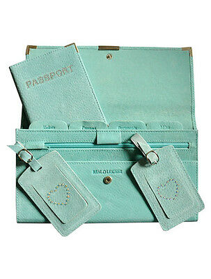 Suede 4pcs Travel Wallet Organiser Document Set Aqua - Brand New