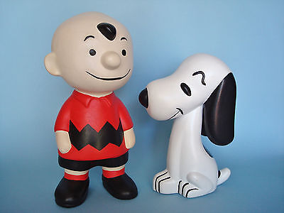 "Vintage CHARLIE BROWN & SNOOPY Ceramic Figures - 9 1/4"" & 7 1/4"" Respectively"