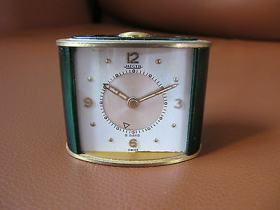 Vintage Art Deco Jaeger LeCoultre 8 Day Memovox Green Alarm Clock