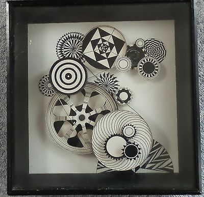Spiral Reel To Reel Shadow Box Kinetic Op Art Astract Framed 1970 By Nancy Metje