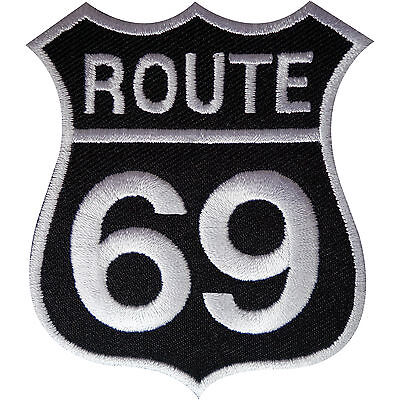 Route 69 Patch Iron Sew On Embroidered Highway Road Sign Biker Badge America USA