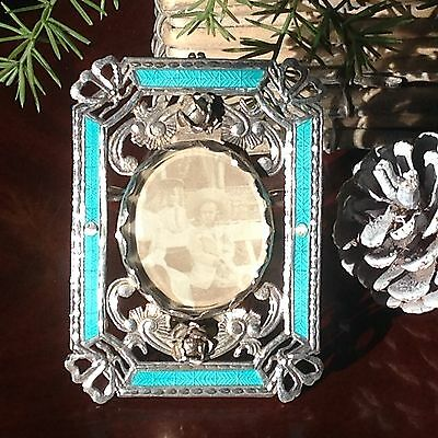 Rare Antique RUSSIAN Solid Silver & Enamel Picture Photo Frame - Dated 1850