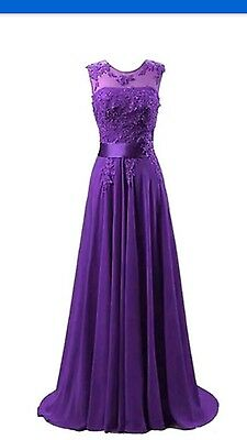Long Chiffon Lace Evening Formal Party Ball Gown Prom Bridesmaid Dress size 16
