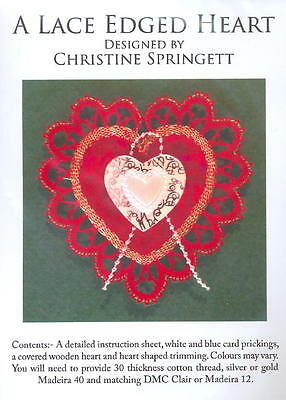 Christmas Decoration: Lace Edged Heart  Red with Red Rose
