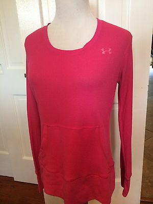 Under Armour Women's Pink Waffle Style Semi-Fitted Shirt Size Medium Athletic