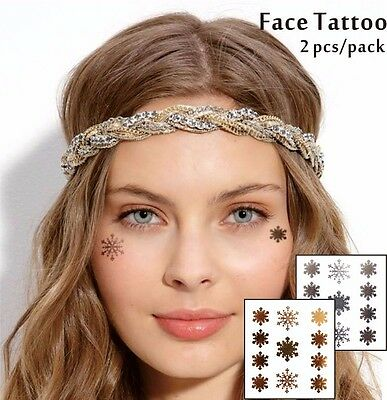 Snow Flakes Christmas Gold Silver Temporary Face Tattoo Glitter Cheek Makeup UK