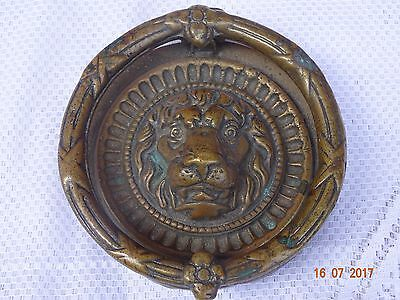 19th LION DOOR KNOCKER Large Bronze Round Antique Brass Original handmade