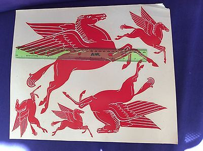 Vintage Mobil Oil Pegasus Red Flying Horse Decals Palm Brothers Decalcomania 65'