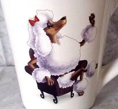"Poodle Coffee Tea Mug Cup Paws N Claws Stoneware  5"" Tall Purple White Bow Dog"