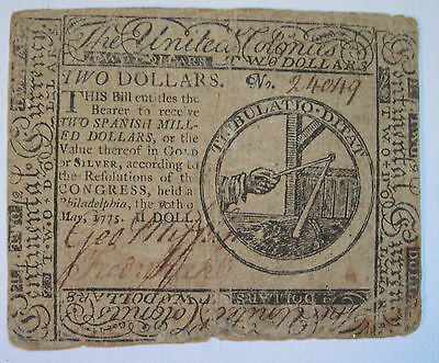 $2 Continental Currency Note - May 10th, 1775