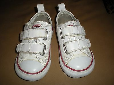 Converse All Star White Leather Toddler Sneakers - Size 6